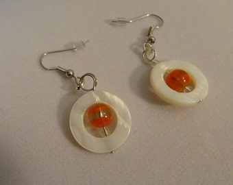 Glass Orange Bead in a Circle of Shell Earrings (E24)