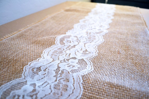 Burlap and lace table runner 120 long by missbizibee on etsy for 120 table runners