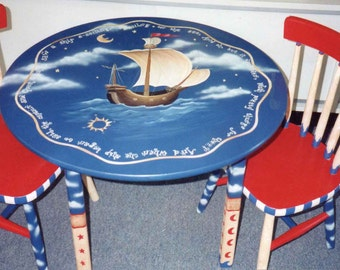 sailing ships child's table set, hand painted child's table set
