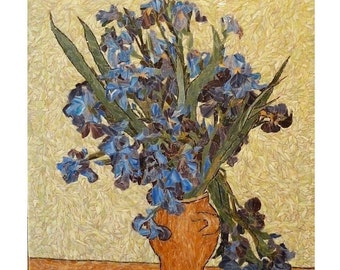 Mosaic of art glass - Irises - an interpretation of Van Gogh's