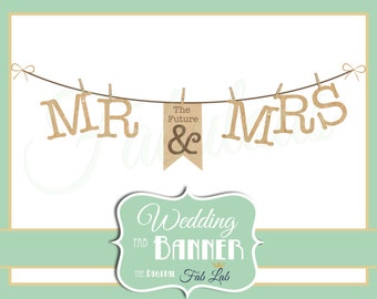 Wedding Clipart, Mr and Mrs Banner, Digital Clipart, Rustic, Clothes Line, Scrapbook, PNG