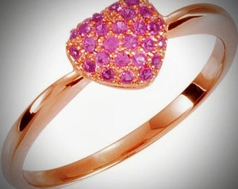 Darling & Romantic 925 Sterling Genuine Pink Sapphire Heart Ring with Rose Gold Plating US Size 7