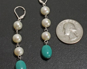 Handmade Sterling Silver Genuine Chinese Turquoise Cultured Pearl Lever Back Dangle Earrings