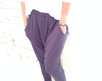 Gray pants / Drop Crotch Pants Viscose Pants / Yoga