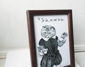 "Shakespeare's Hamlet Cat 5 x 7"" Print"
