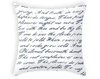 Navy blue handwriting poem throw pillow handwriting navy blue and white cushion throw pillow typography cushion cover white throw pillos