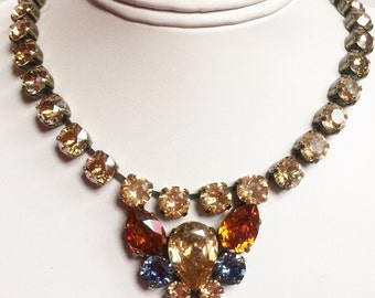 Harvest Pear Swarovski crystal statement necklace