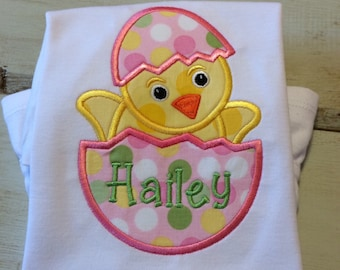 Girl Easter Chick Appliqued Tshirt or Bodysuit