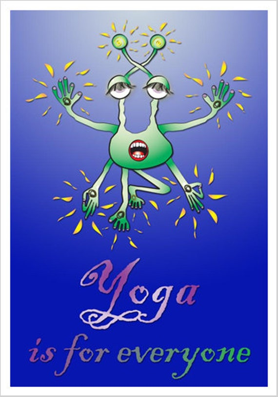 Yoga Alien - Whimsical Fine Art Giclee Print for Decor and Decorating