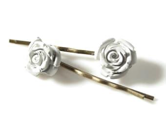 Concrete Rose Hair Pins; Gray Concrete Bobby Pins