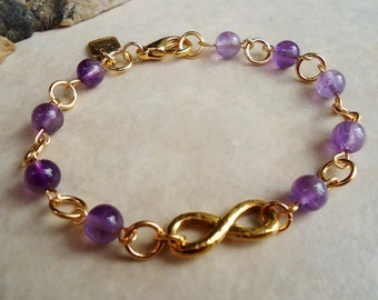 Infinity Bracelet. Amethyst Gemstone. sculpted metal plated in 24 Karat Gold. Valentine. Mother's. Friendship. Birthday. Beadwork, Handmade