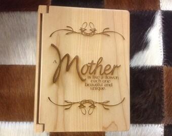 "Laser engraved maple ""Mother"" photo album"