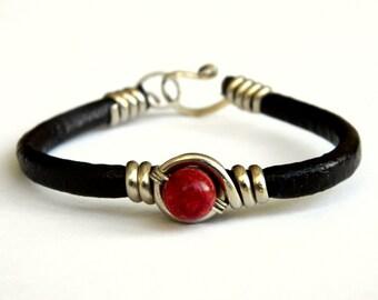 red coral bracelet, leather bracelet red coral. red coral. leather bracelet, leather brown