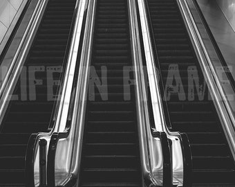 Escalator to nowhere,Architecture,Black and white photography,Urban