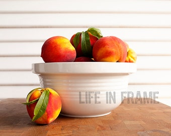Peaches in Bowl, Color Photography