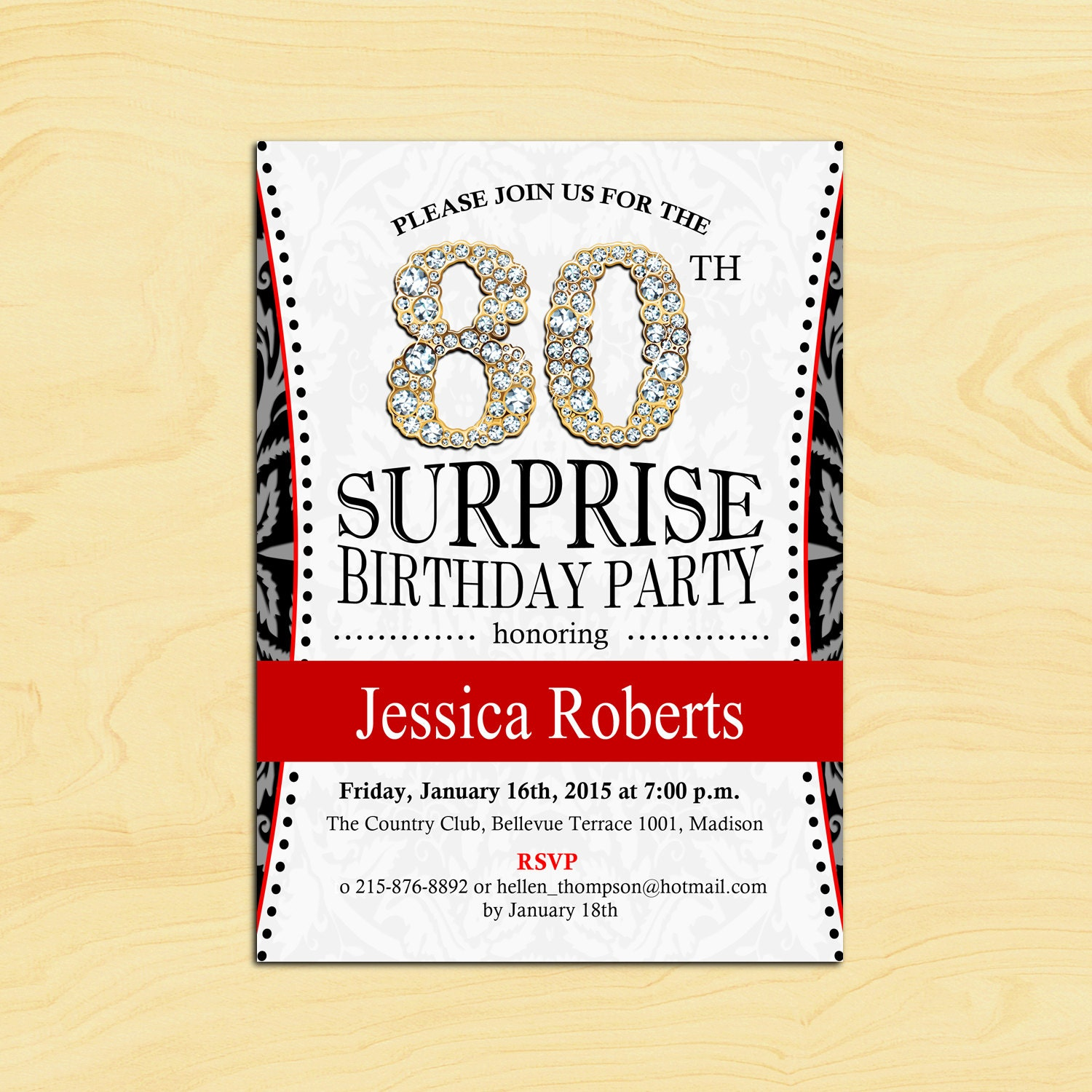 80th Surprise Birthday Invitation / Any Age / Adult Birthday
