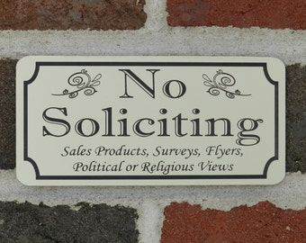 Rectangular laser Engraved No Soliciting Sign - FREE SHIPPING