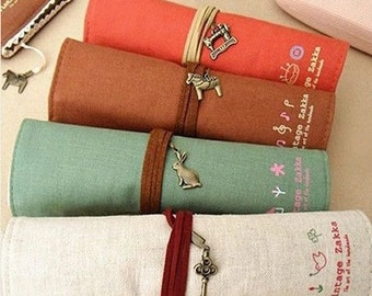 Pencil wrap zipper pouch of Brown zakka (A985)