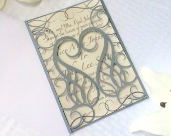 love heart iron castle gate wedding invitation cut paper gatefold party romantic