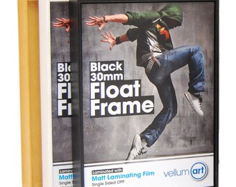 Black,white,dark brown and obeche float framing kits for art prints and photographs