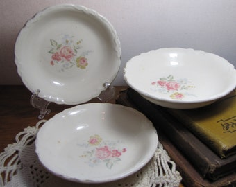 Set of Three (3) Vintage Berry Bowl - Faded Rose Pattern