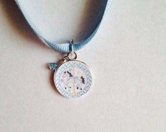 Blue Carousel Horse Ribbon Charm Necklace-Child, Carousel Horse Charm Necklace, Carousel Horse Necklace, Horse Necklace