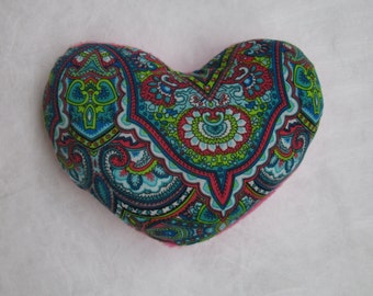 Small sized, soft heart cushion - green and pink