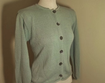 Vintage LL BEAN Silk & Cotton Knit Cardigan Sweater Abalone Buttons M
