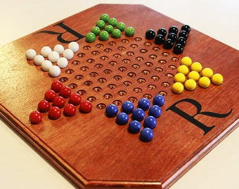 Logoed, Handmade Oak Chinese Checkers Board