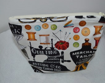 Cosmetic Bag/ Sewing Bag/ Zipper Pouch She who sews fabric