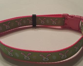 Green & Pink Easter Bunny Easter Egg Dog Collar