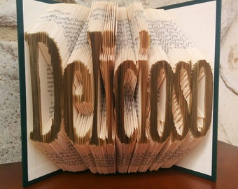 Delicioso - Folded Book Art - Fully Customizable, spanish, cook, kitchen