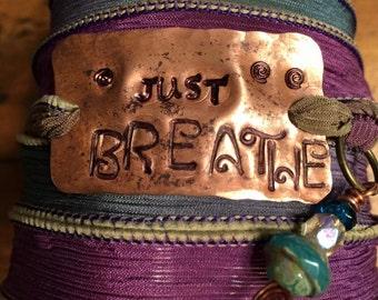 Hand Dyed Silk Ribbon Yoga Wrap Bracelet