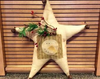 Primitive star with snowman ornie/shelf sitter