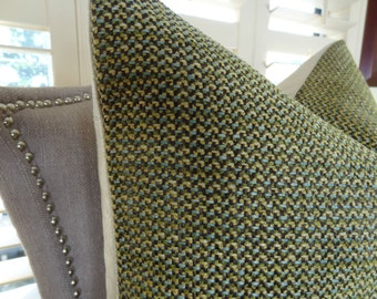 Designer Green Throw Pillow Cover - Green Tan Blue Weaved Accent Pillow - Green Textured Pillow - Modern Green Weaved Pillow - 11339