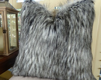 exotic siberian husky faux faur throw pillow cover gray white black husky fur gray