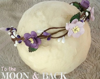 Purple & Lilac Rustic Woodland Flower Crown Halo Tieback Newborn Baby Photography Photo Prop