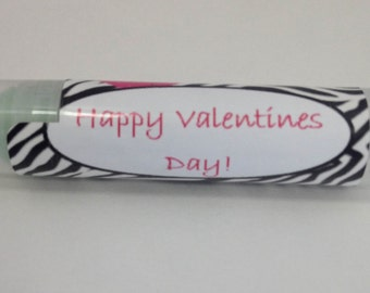 Zebra and Pink Valentine's Day Class Favors Lip Balms. 6 flavors, All Natural