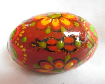 Hand-Painted Polish Wooden Easter Egg