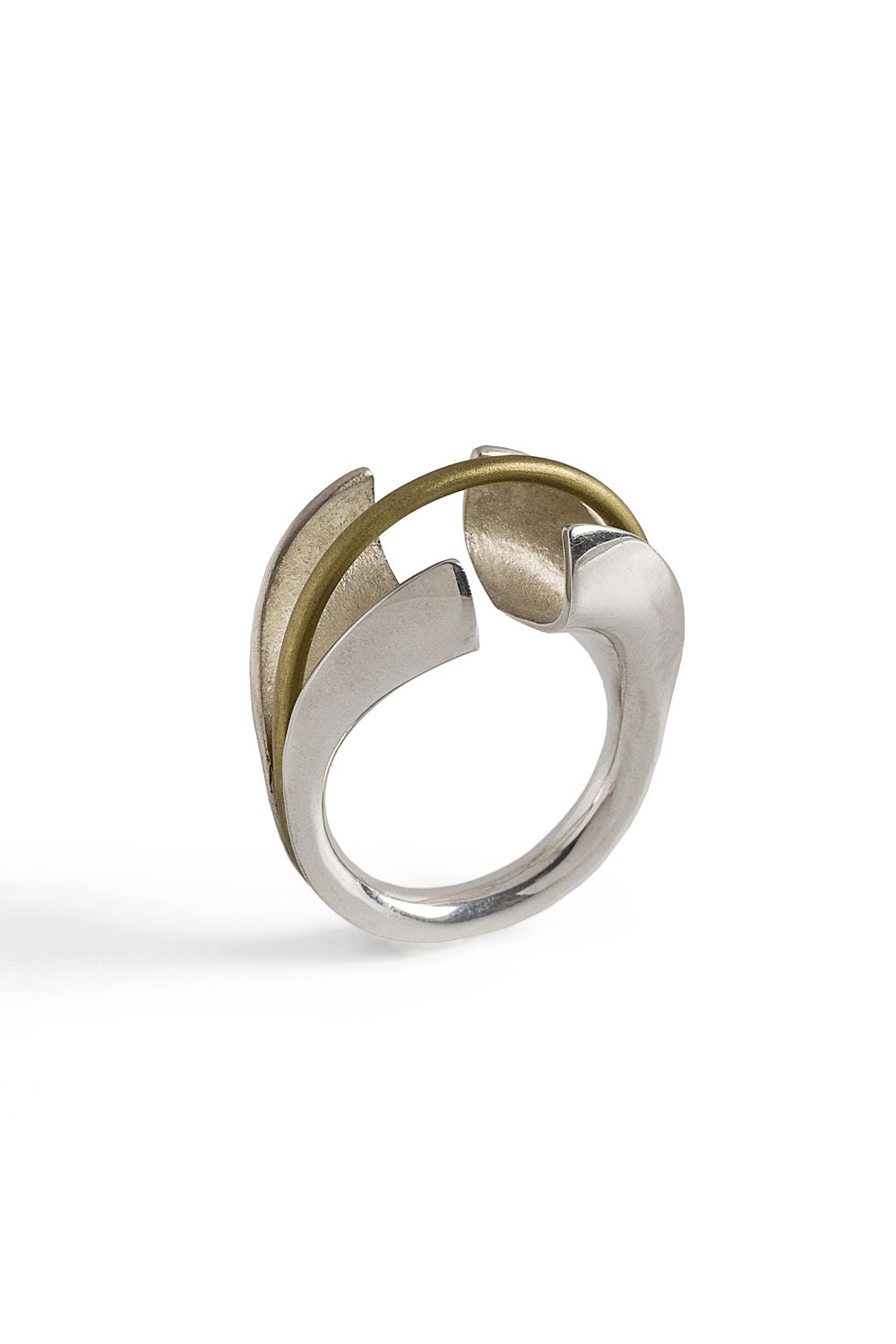contemporary statement silver ring modern ring adjustable