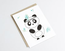 """Postcard """"INDIAN PANDA"""" - original print - perfect for a baby room - illustration panda with feather - indian style"""