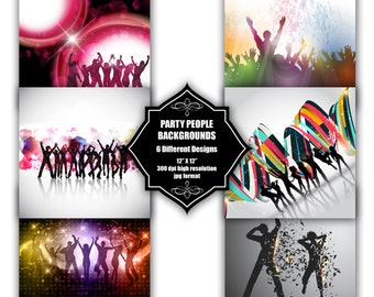 INSTANT DOWNLOAD - Collection of digital party people backgrounds with 6 different designs