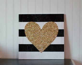 Heart of Gold Black & White Striped Wood Sign with GLITTERY Gold Heart, Black and White Decor, Bedroom Decor, Office Decor