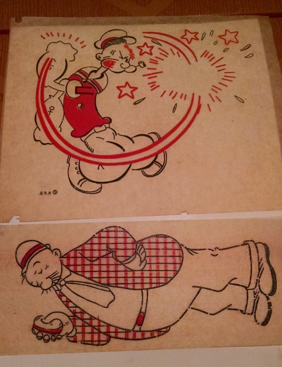 Vintage  1940s-50s  Iron On Popeye and Wimpey