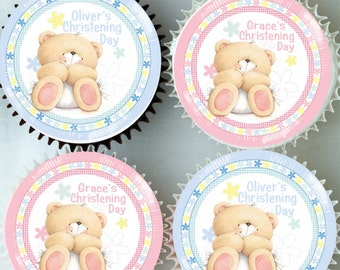 Edible Rice Paper Cupcake Toppers - Personalised Christening Cake Decoration