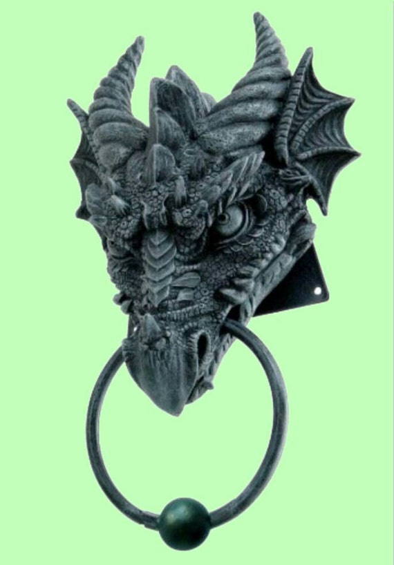 Draculas castle dragon door knocker cast iron finish look - Dragon door knocker ...