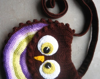 Crochet owl bag, owl bag, owl purse, baby bag, multicolored owl purse