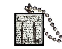 Vintage Keys Postcard Old Fashioned - Reclaimed Scrabble Tile Pendant Necklace