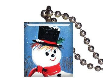 Vintage Christmas Snowman Holidays - Reclaimed Scrabble Tile Pendant Necklace