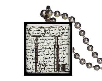 Vintage Keys Postcard Old Fashioned - Reclaimed Scrabble Tile Pendant Necklace
